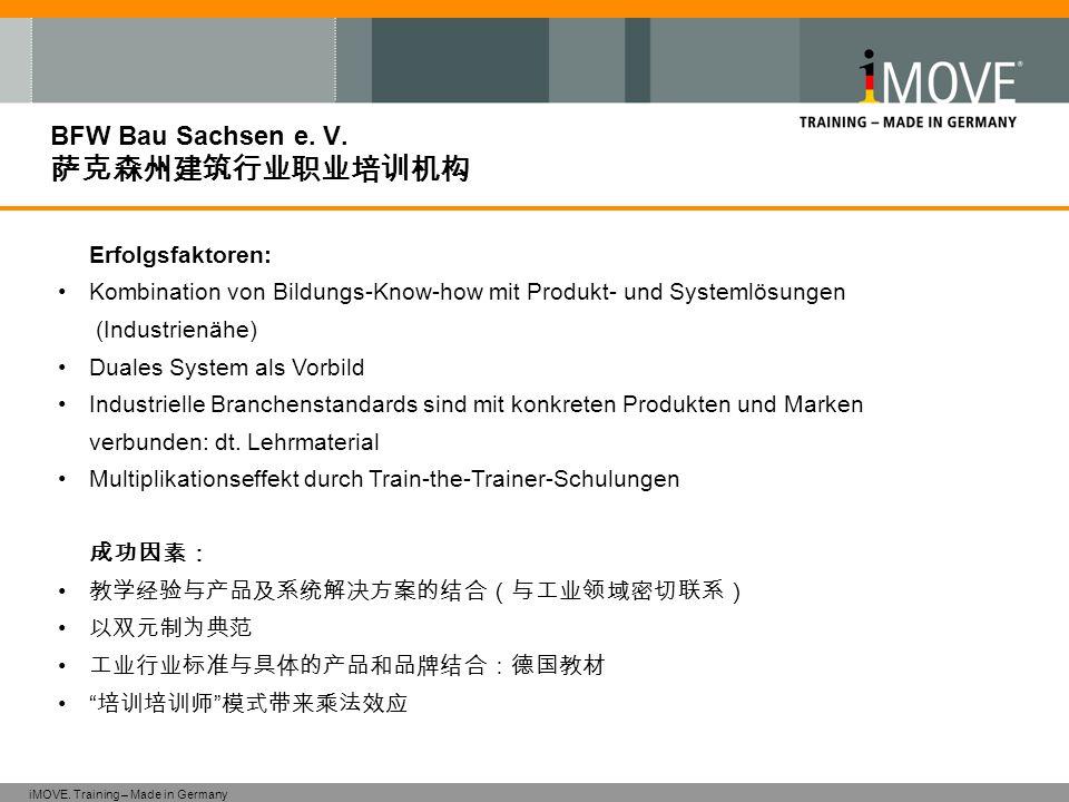 iMOVE. Training – Made in Germany BFW Bau Sachsen e. V. 萨克森州建筑行业职业培训机构 Erfolgsfaktoren: Kombination von Bildungs-Know-how mit Produkt- und Systemlösun