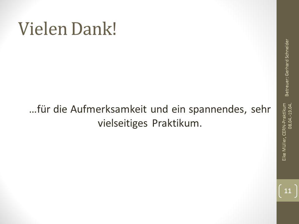 Vielen Dank! …für die Aufmerksamkeit und ein spannendes, sehr vielseitiges Praktikum. Eike Müller, CERN-Praktikum 08.04.-19.04. 11 Betreuer: Gerhard S