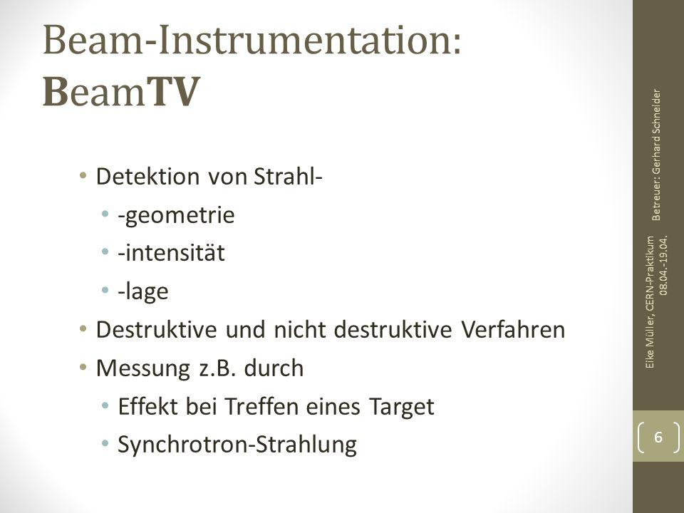 Beam-Instrumentation: BeamTV Detektion von Strahl- -geometrie -intensität -lage Destruktive und nicht destruktive Verfahren Messung z.B. durch Effekt