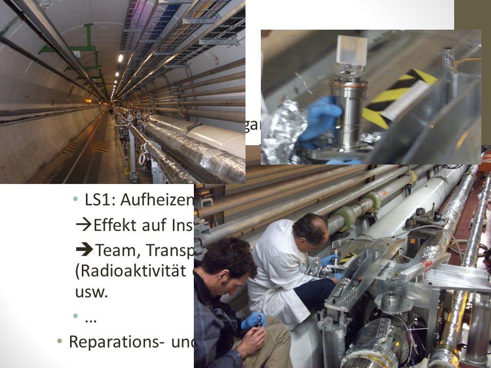 Administration und Organisation Reparatur kaputter Instrumente Upgrade verschiedener Maschinen LS1: Aufheizen und Lüften der Beampipes  Effekt auf In