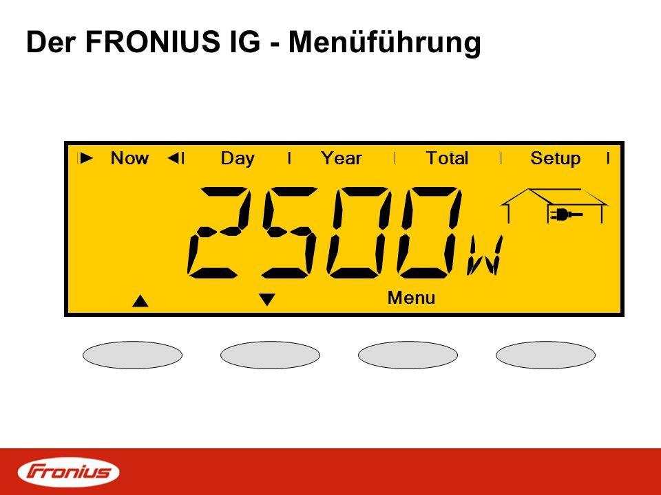 Der FRONIUS IG - Menüführung NowDayYearTotalSetup Menu