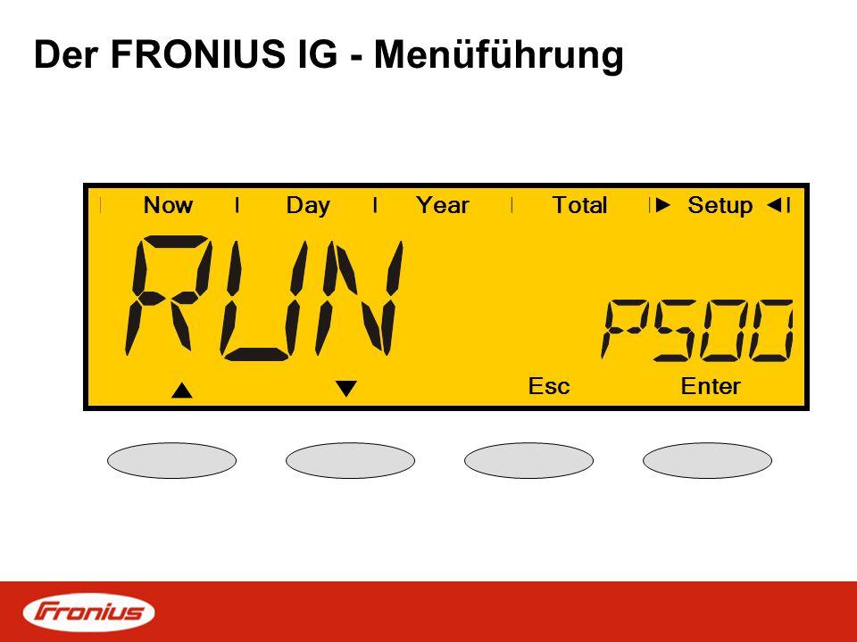 Der FRONIUS IG - Menüführung NowDayYearSetup EscEnter Total