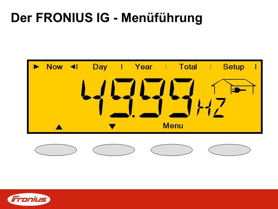 Der FRONIUS IG - Menüführung NowDayYearSetup Esc Total