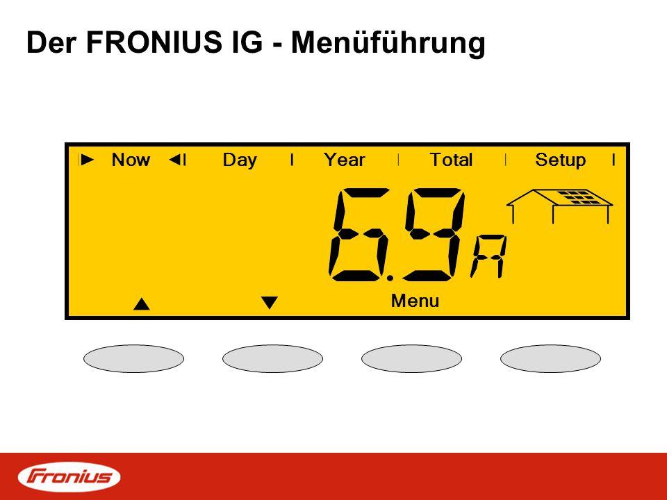 Der FRONIUS IG - Menüführung NowDayYearSetup Enter Total