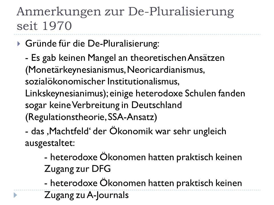 Anmerkungen zur De-Pluralisierung seit 1970  Gründe für die De-Pluralisierung: - Es gab keinen Mangel an theoretischen Ansätzen (Monetärkeynesianismus, Neoricardianismus, sozialökonomischer Institutionalismus, Linkskeynesianimus); einige heterodoxe Schulen fanden sogar keine Verbreitung in Deutschland (Regulationstheorie, SSA-Ansatz) - das 'Machtfeld' der Ökonomik war sehr ungleich ausgestaltet: - heterodoxe Ökonomen hatten praktisch keinen Zugang zur DFG - heterodoxe Ökonomen hatten praktisch keinen Zugang zu A-Journals