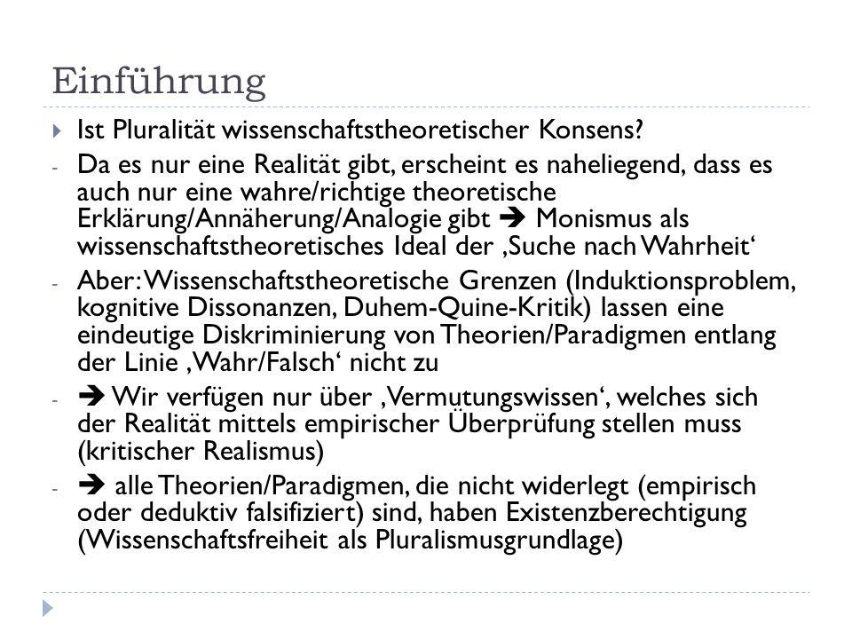 Erkenntnistheoretische Grundlagen  Wissenschaftstheoretische Zugänge zur Entwicklung einer wissenschaftlichen Disziplin: - Thomas Samuel Kuhn's 'Struktur wissenschaftlicher Revolutionen': - Paradigmen als wissenschaftliche Strukturen, die die Arbeit einzelner Wissenschaftler verknüpfen und eine Disziplin erkennbar machen (Lehrbücher + Kanon, Grundkonventionen) - Reifegrad einer Disziplin erkennbar daran, ob Paradigma bereits ausgebildet und wieviele in Konkurrenz existieren  Pluralität als Zeichen des Übergangs (Revolution) oder der Unreife (noch keine 'Normalwissenschaft')