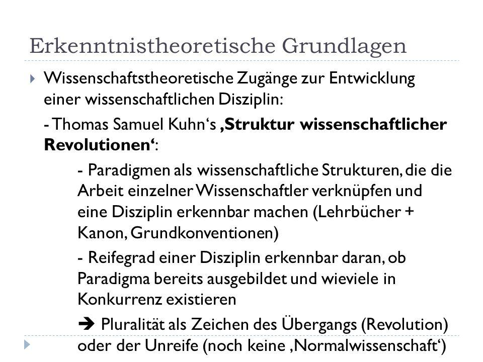Erkenntnistheoretische Grundlagen  Wissenschaftstheoretische Zugänge zur Entwicklung einer wissenschaftlichen Disziplin: - Thomas Samuel Kuhn's 'Stru