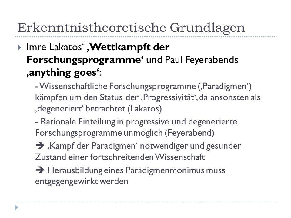 Erkenntnistheoretische Grundlagen  Imre Lakatos' 'Wettkampft der Forschungsprogramme' und Paul Feyerabends 'anything goes': - Wissenschaftliche Forschungsprogramme ('Paradigmen') kämpfen um den Status der 'Progressivität', da ansonsten als 'degeneriert' betrachtet (Lakatos) - Rationale Einteilung in progressive und degenerierte Forschungsprogramme unmöglich (Feyerabend)  'Kampf der Paradigmen' notwendiger und gesunder Zustand einer fortschreitenden Wissenschaft  Herausbildung eines Paradigmenmonimus muss entgegengewirkt werden