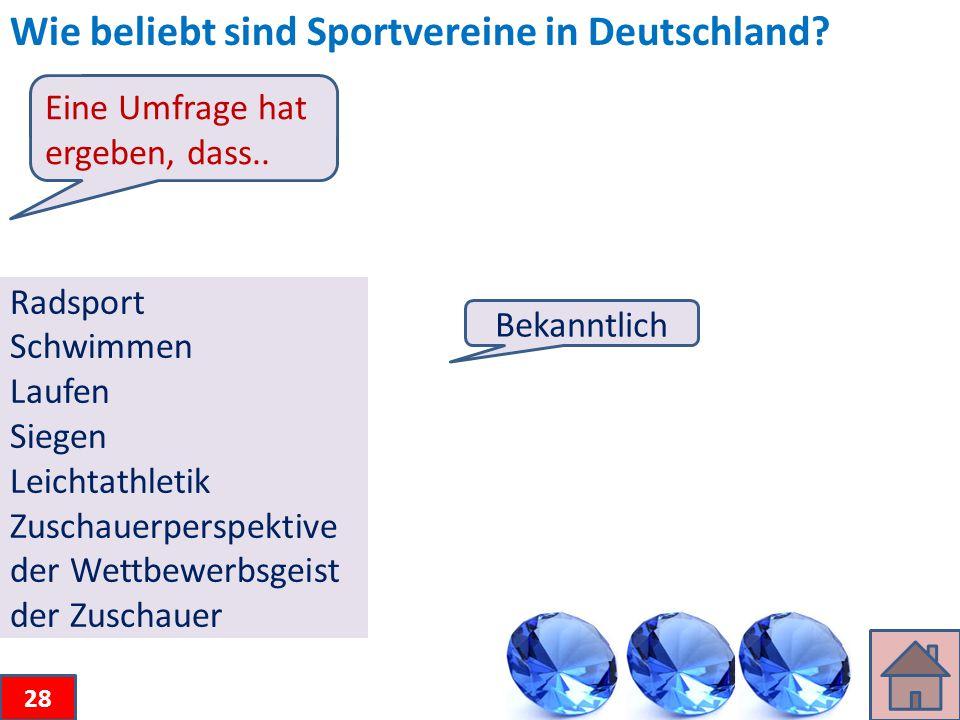 Wie beliebt sind Sportvereine in Deutschland.
