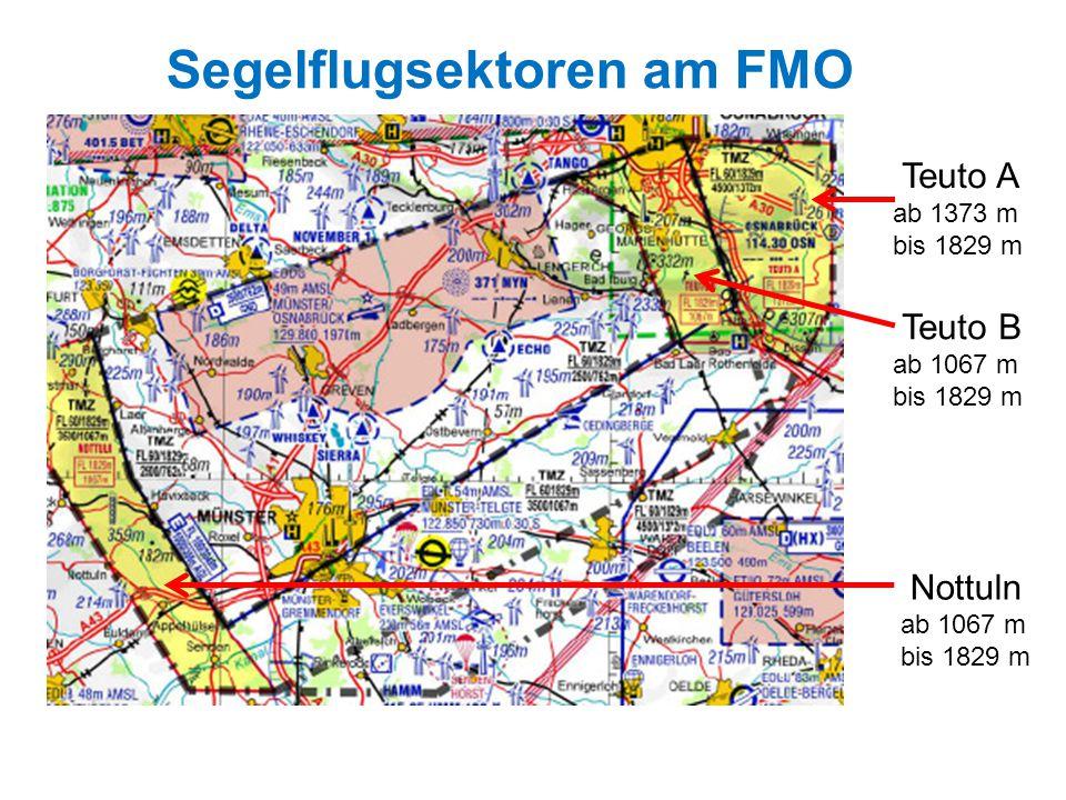 Segelflugsektoren am FMO Teuto A ab 1373 m bis 1829 m Teuto B ab 1067 m bis 1829 m Nottuln ab 1067 m bis 1829 m