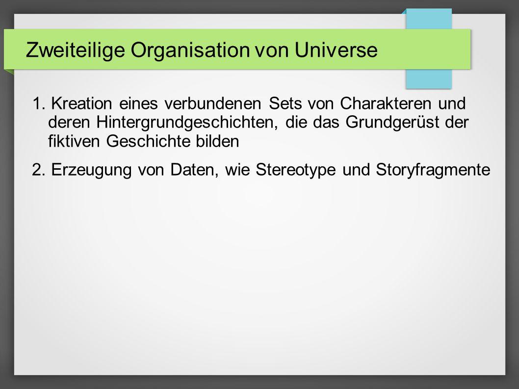 Zweiteilige Organisation von Universe 1.