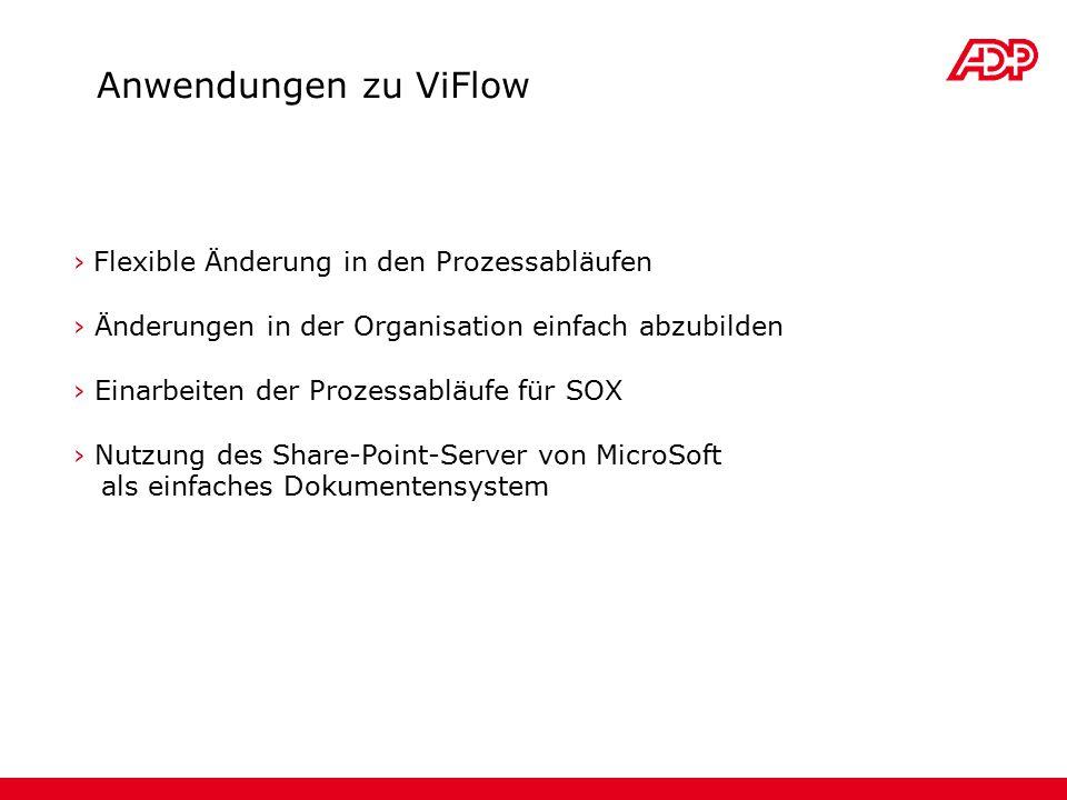 › Flexible Änderung in den Prozessabläufen › Änderungen in der Organisation einfach abzubilden › Einarbeiten der Prozessabläufe für SOX › Nutzung des Share-Point-Server von MicroSoft als einfaches Dokumentensystem Anwendungen zu ViFlow