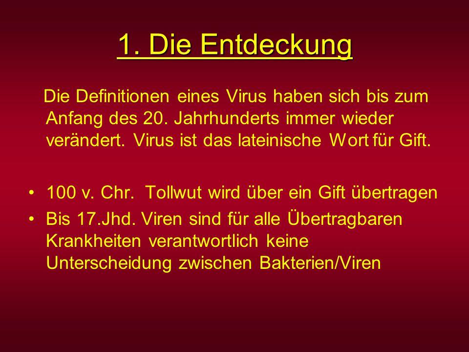 1. Die Entdeckung Die Definitionen eines Virus haben sich bis zum Anfang des 20. Jahrhunderts immer wieder verändert. Virus ist das lateinische Wort f