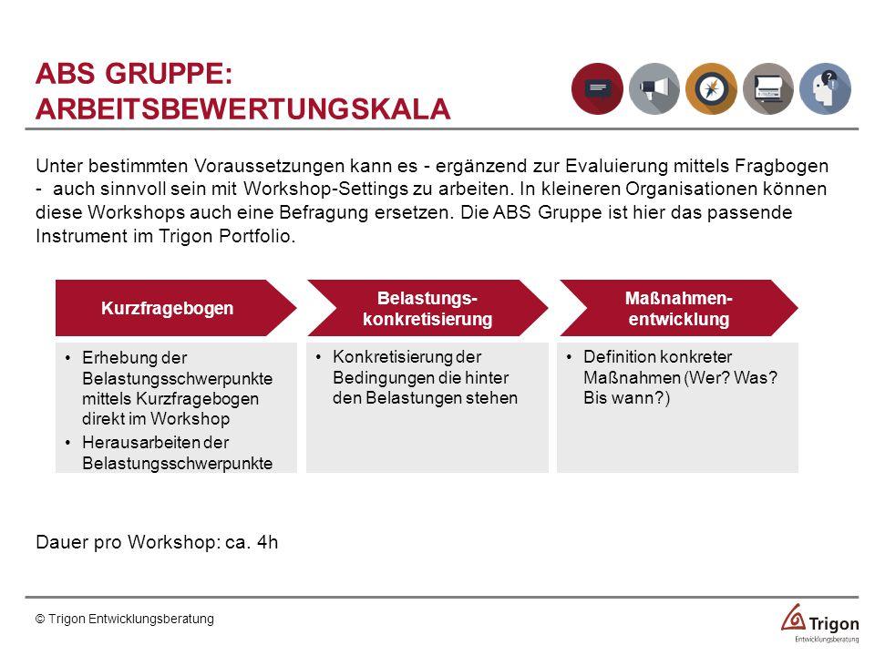 Unter bestimmten Voraussetzungen kann es - ergänzend zur Evaluierung mittels Fragbogen - auch sinnvoll sein mit Workshop-Settings zu arbeiten.