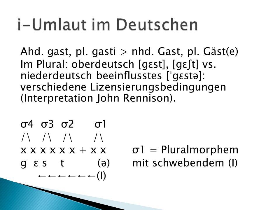 Ahd. gast, pl. gasti > nhd. Gast, pl. Gäst(e) Im Plural: oberdeutsch [gɛst], [gɛʃt] vs. niederdeutsch beeinflusstes [ˈgɛstə]: verschiedene Lizensierun