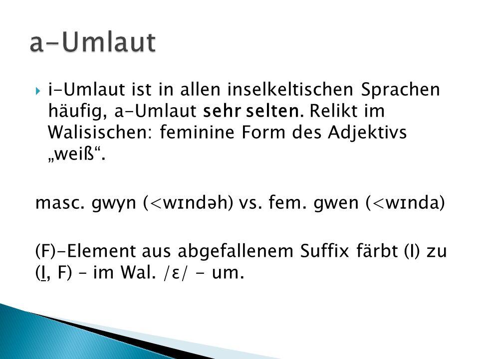 """ i-Umlaut ist in allen inselkeltischen Sprachen häufig, a-Umlaut sehr selten. Relikt im Walisischen: feminine Form des Adjektivs """"weiß"""". masc. gwyn ("""