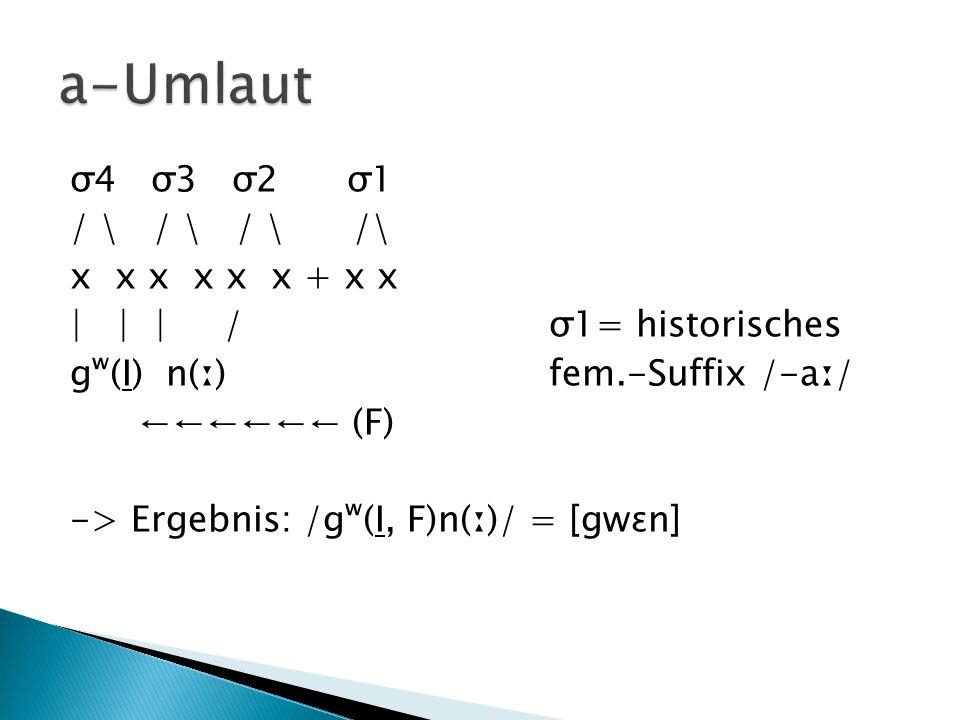 σ4 σ3 σ2 σ1 / \ / \ / \ /\ x x x x x x + x x | | | / σ1= historisches gʷ(I) n(ː) fem.-Suffix /-aː/ ←←←←←← (F) -> Ergebnis: /gʷ(I, F)n(ː)/ = [gwɛn]