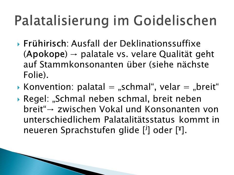 """Frühirisch > Altirisch /karːah/ /karː/ """"Wagen (Nom.) /karːiː//karːʲ/ """"Wagens (Gen.) σ4 σ3 σ2 σ1 σ3 σ2 σ1 / \ / \ / \ / \ / \ / \ / \ x x x x x x x x > x x x x x x     \ / \ /     \ / k a r i k a rʲ ←(I) (I)"""