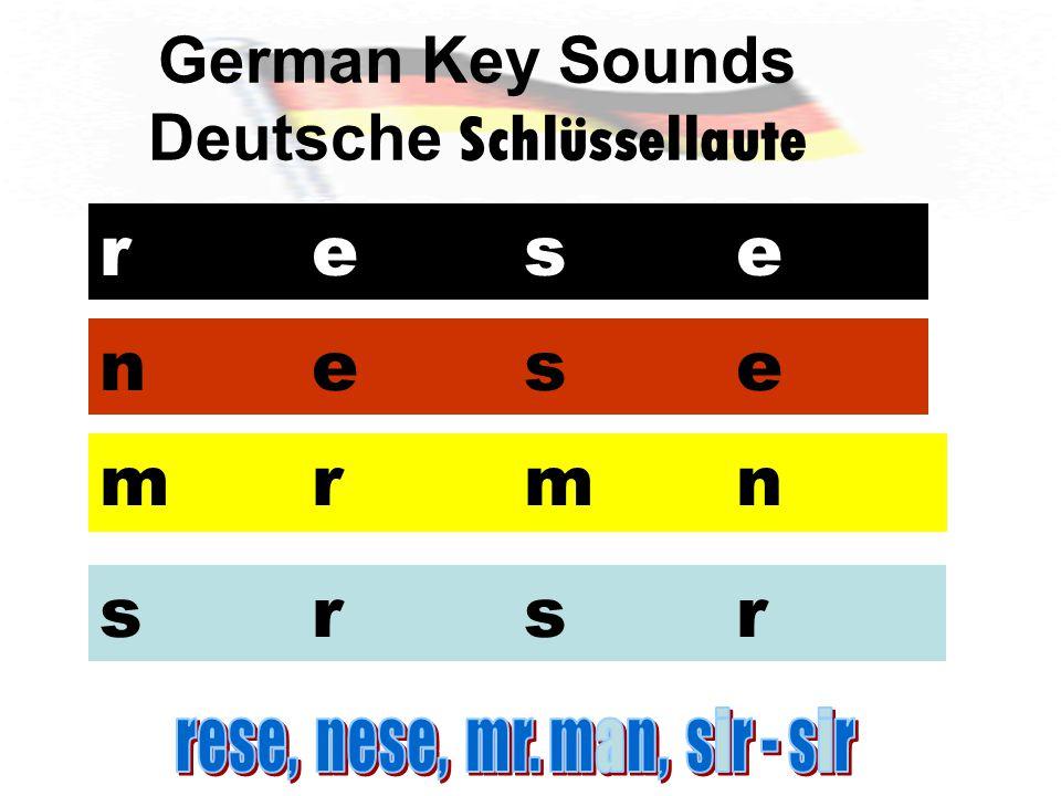 German Key Sounds Deutsche Schlüssellaute reserese nesenese mrmnmrmn srsrsrsr