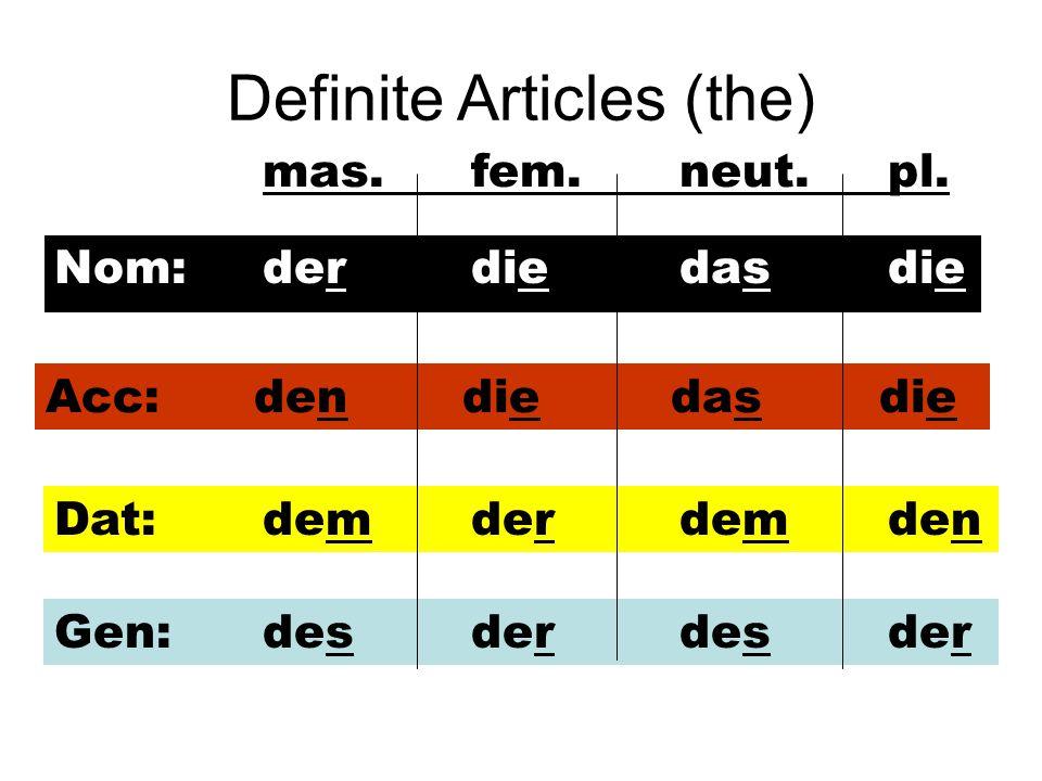 Definite Articles (the) Nom:derdiedasdie Acc:dendiedasdie Dat:demderdemden Gen:desderdesder mas.fem.neut. pl.