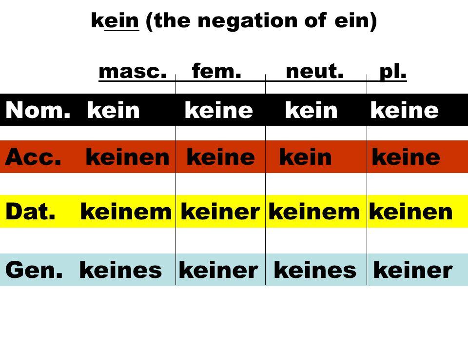 kein (the negation of ein) masc.fem.neut.pl. Nom. kein keine kein keine Acc. keinen keine kein keine Dat. keinem keiner keinem keinen Gen. keines kein