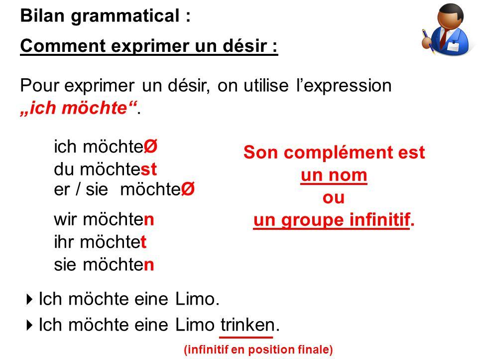 "Bilan grammatical : Comment exprimer un désir : Pour exprimer un désir, on utilise l'expression ""ich möchte"". ich möchteØ du möchtest er / sie möchteØ"