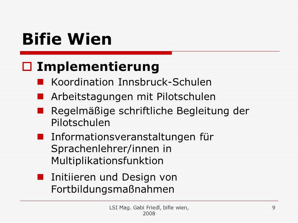 Bifie Wien  Implementierung Koordination Innsbruck-Schulen Arbeitstagungen mit Pilotschulen Regelmäßige schriftliche Begleitung der Pilotschulen Info