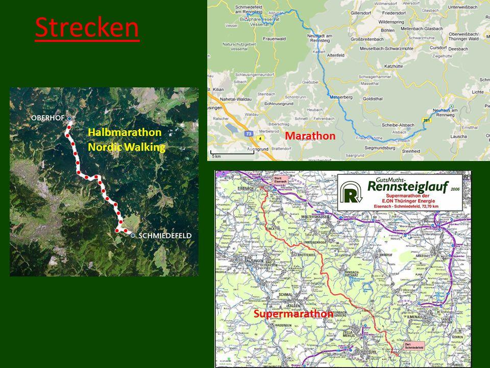 Strecken Marathon Supermarathon Halbmarathon Nordic Walking
