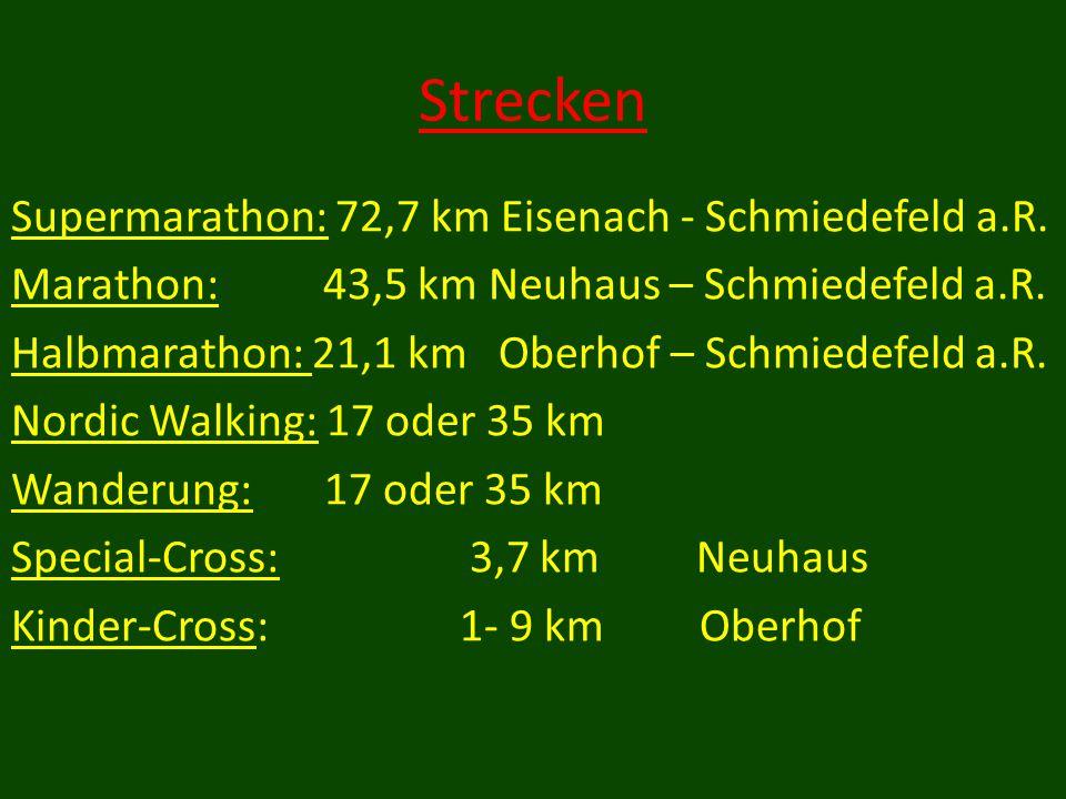 Strecken Supermarathon: 72,7 km Eisenach - Schmiedefeld a.R.