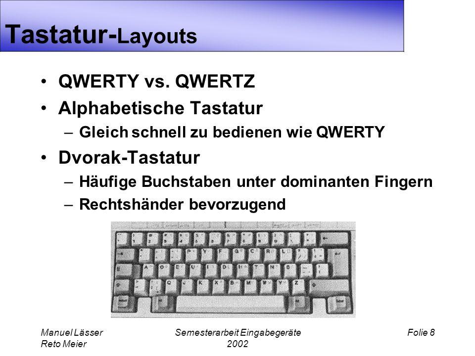 Manuel Lässer Reto Meier Semesterarbeit Eingabegeräte 2002 Folie 8 Tastatur- Layouts QWERTY vs.