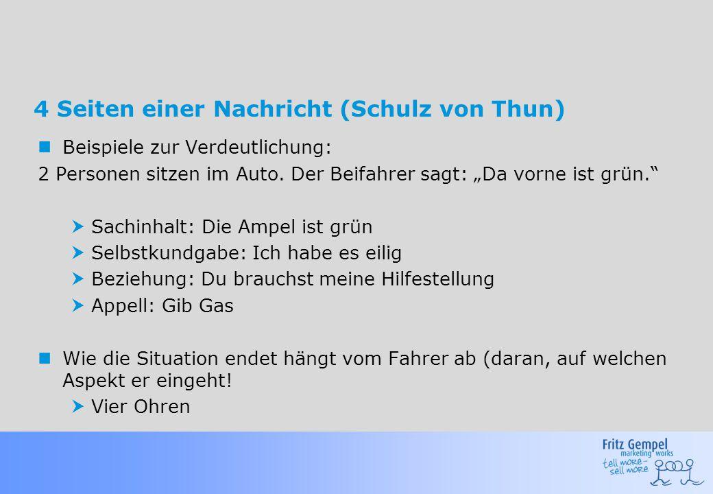 """4 Seiten einer Nachricht (Schulz von Thun) Beispiele zur Verdeutlichung: 2 Personen sitzen im Auto. Der Beifahrer sagt: """"Da vorne ist grün.""""  Sachinh"""