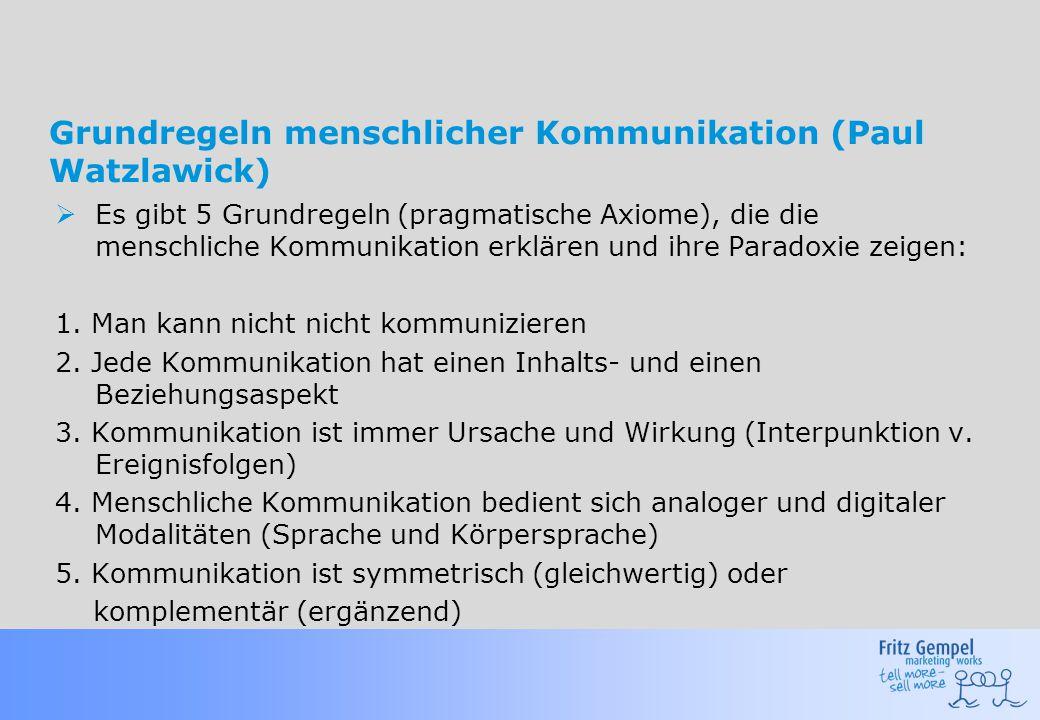 Grundregeln menschlicher Kommunikation (Paul Watzlawick)  Es gibt 5 Grundregeln (pragmatische Axiome), die die menschliche Kommunikation erklären und