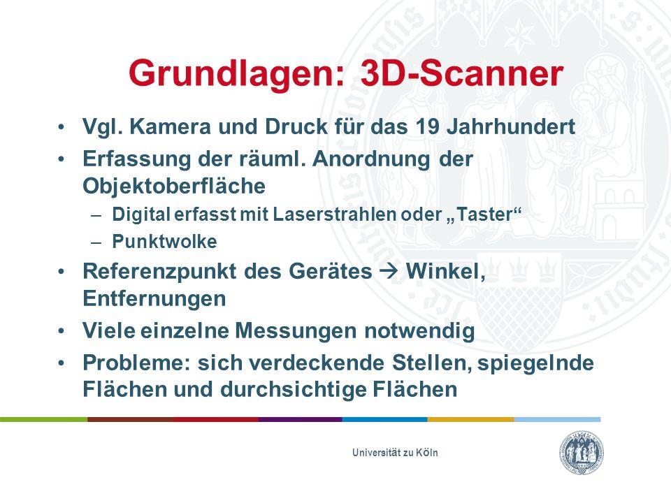 Grundlagen: 3D-Scanner Vgl. Kamera und Druck für das 19 Jahrhundert Erfassung der räuml. Anordnung der Objektoberfläche –Digital erfasst mit Laserstra