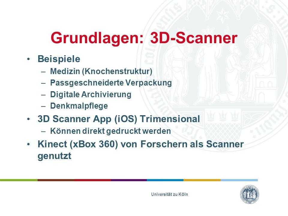 Grundlagen: 3D-Scanner Beispiele –Medizin (Knochenstruktur) –Passgeschneiderte Verpackung –Digitale Archivierung –Denkmalpflege 3D Scanner App (iOS) T