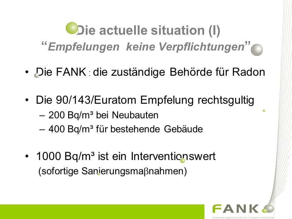 Die actuelle situation (I) Empfelungen keine Verpflichtungen Die FANK : die zuständige Behörde für Radon Die 90/143/Euratom Empfelung rechtsgultig –200 Bq/m³ bei Neubauten –400 Bq/m³ für bestehende Gebäude 1000 Bq/m³ ist ein Interventionswert (sofortige Sanierungsma  nahmen)