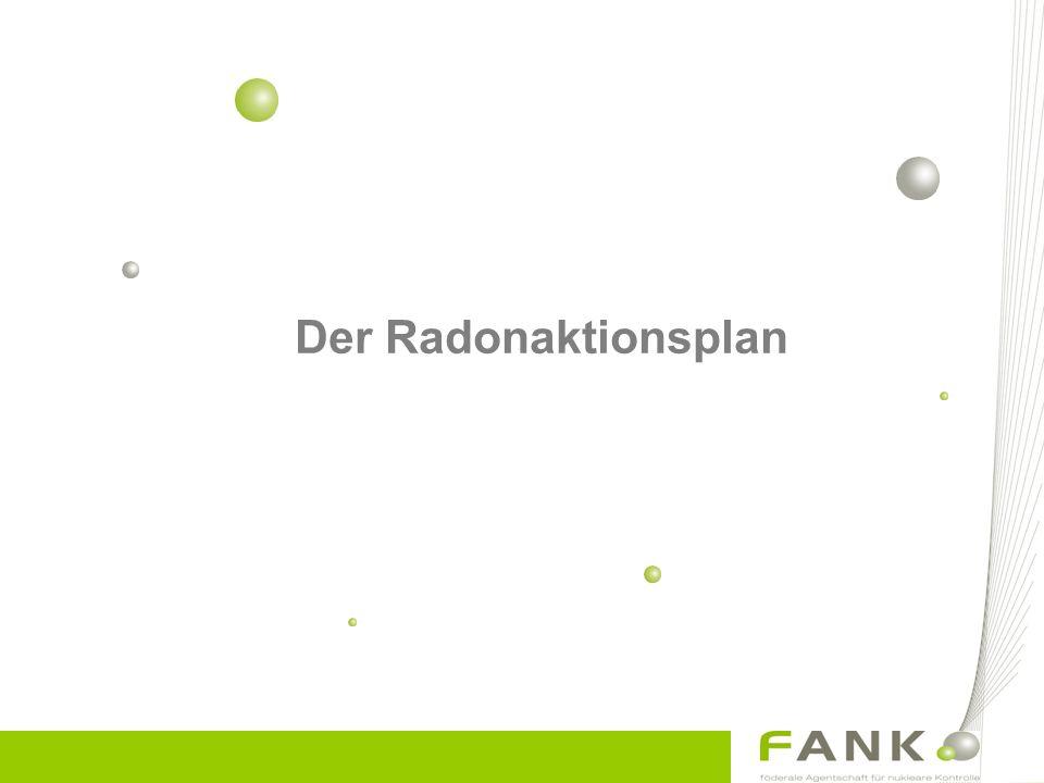 Der Radonaktionsplan (I) Langfristige Ziel –Status Quo in Flandern –Vergeleichbares Expositionsniveau in Wallonien wie in Flandern Resultat –Eine Reduzierung der Rn Lungenkrebsfälle um 150 pro Jahr in Wallonien –Einer 2-3% Senkung für Belgien ingesamt