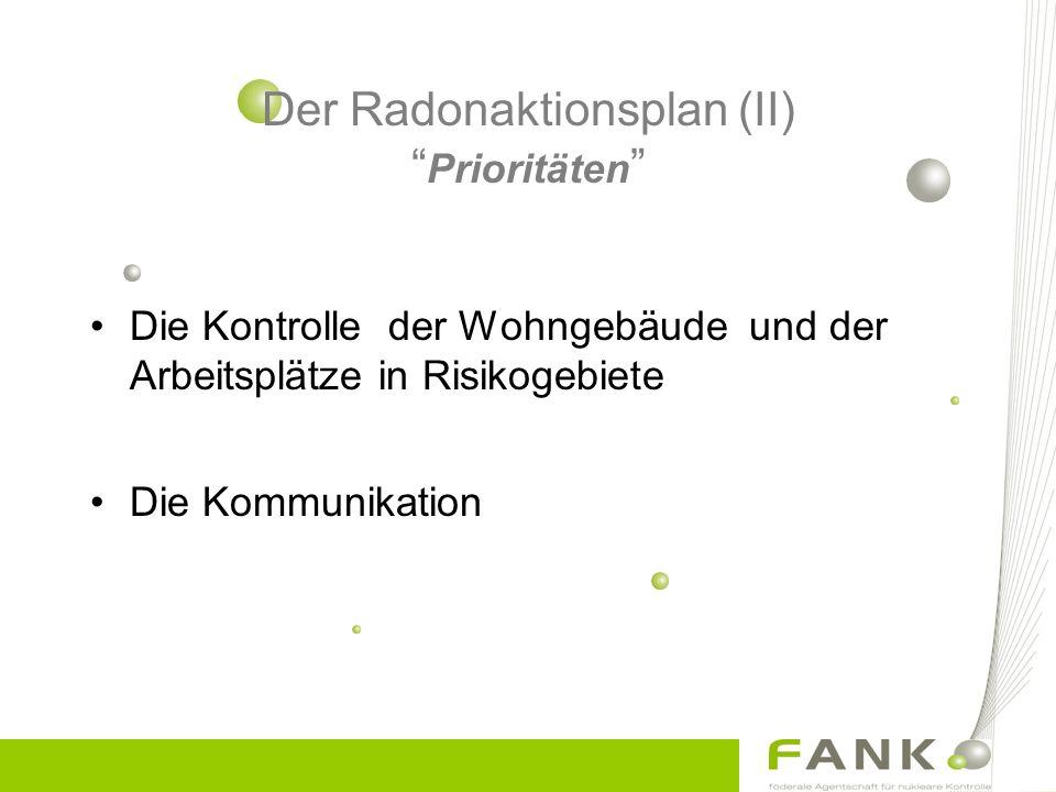 Die Kontrolle der Wohngebäude und der Arbeitsplätze in Risikogebiete Die Kommunikation Der Radonaktionsplan (II) Prioritäten