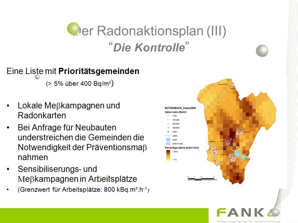 Der Radonaktionsplan (III) Die Kontrolle Eine Liste mit Prioritätsgemeinden (> 5% über 400 Bq/m³ ) Lokale Me  kampagnen und Radonkarten Bei Anfrage für Neubauten understreichen die Gemeinden die Notwendigkeit der Präventionsma  nahmen Sensibiliserungs- und  e  kampagnen in Arbeitsplätze (Grenzwert für Arbeitsplätze: 800 kBq.m³.h -1 )