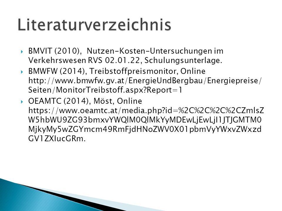  BMVIT (2010), Nutzen-Kosten-Untersuchungen im Verkehrswesen RVS 02.01.22, Schulungsunterlage.  BMWFW (2014), Treibstoffpreismonitor, Online http://