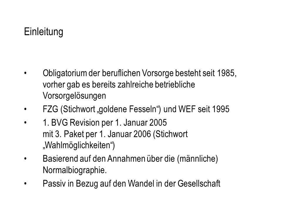 """Einleitung Obligatorium der beruflichen Vorsorge besteht seit 1985, vorher gab es bereits zahlreiche betriebliche Vorsorgelösungen FZG (Stichwort """"goldene Fesseln ) und WEF seit 1995 1."""
