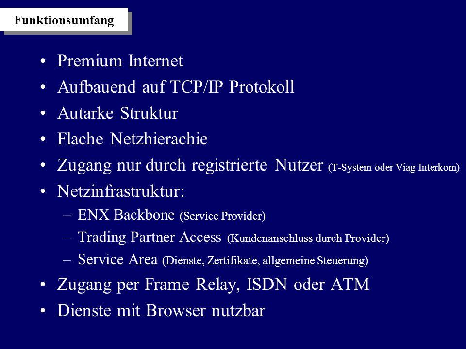 Funktionsumfang Premium Internet Aufbauend auf TCP/IP Protokoll Autarke Struktur Flache Netzhierachie Zugang nur durch registrierte Nutzer (T-System oder Viag Interkom) Netzinfrastruktur: –ENX Backbone (Service Provider) –Trading Partner Access (Kundenanschluss durch Provider) –Service Area (Dienste, Zertifikate, allgemeine Steuerung) Zugang per Frame Relay, ISDN oder ATM Dienste mit Browser nutzbar