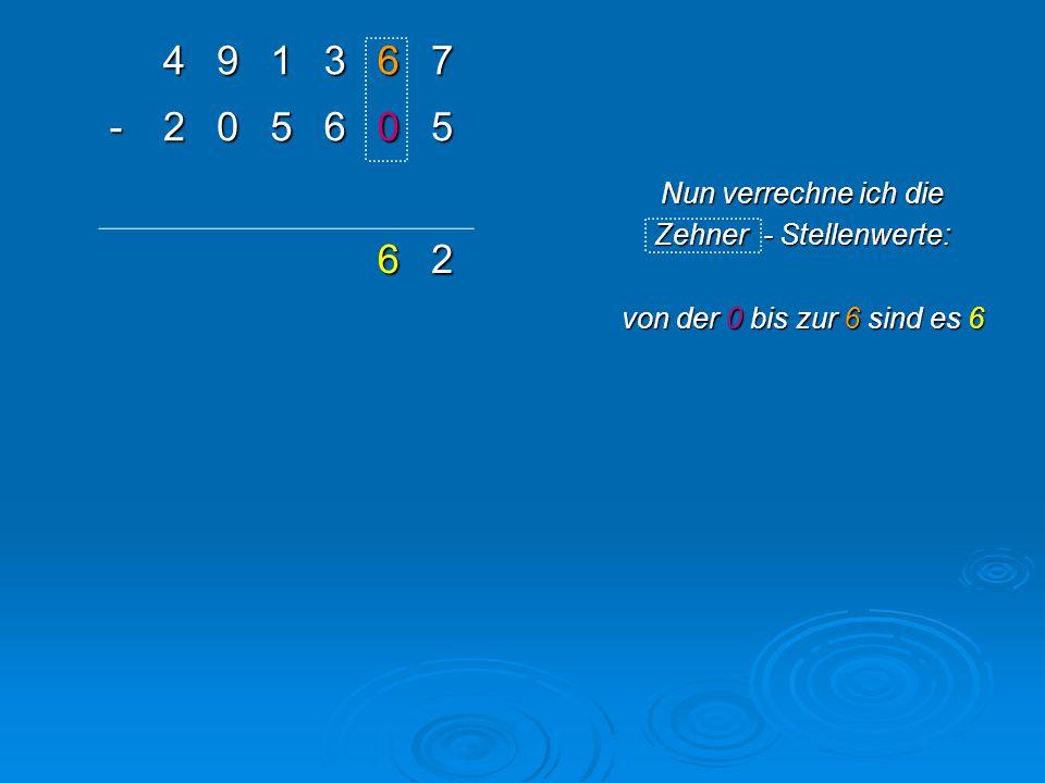 491367 -205605 1 762 Nun verrechne ich die Hunderter - Stellenwerte: Von der 6 bis zur 3 sind es… Ups?.