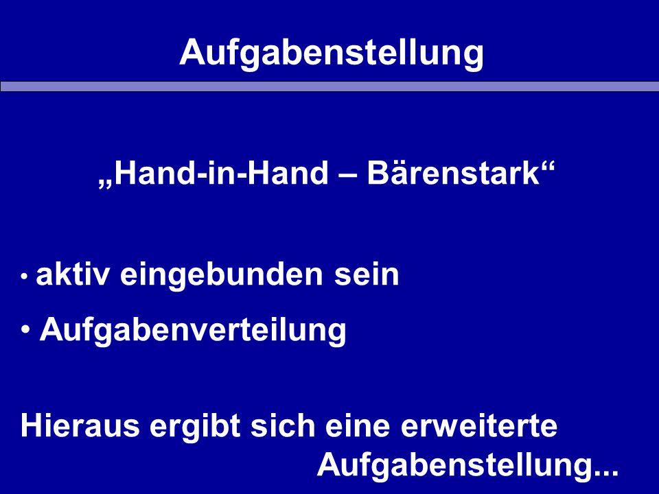 """Aufgabenstellung """"Hand-in-Hand – Bärenstark aktiv eingebunden sein Aufgabenverteilung Hieraus ergibt sich eine erweiterte Aufgabenstellung..."""