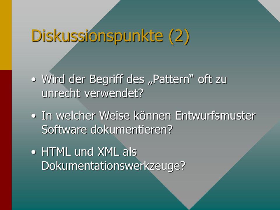 Diskussionspunkte (1) Was sind die Perspektiven der Softwaredokumentation Was sind die Perspektiven der Softwaredokumentation.