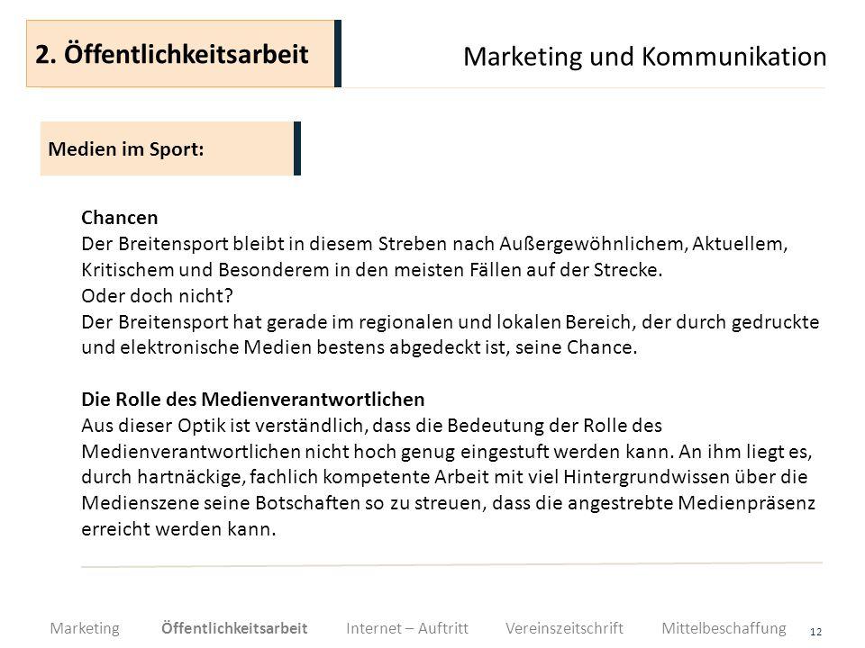 Marketing und Kommunikation 12 Chancen Der Breitensport bleibt in diesem Streben nach Außergewöhnlichem, Aktuellem, Kritischem und Besonderem in den m