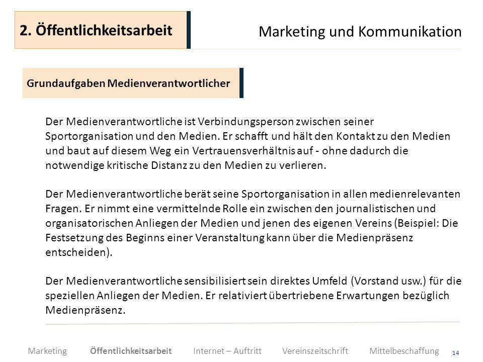 Marketing und Kommunikation 14 Der Medienverantwortliche ist Verbindungsperson zwischen seiner Sportorganisation und den Medien. Er schafft und hält d