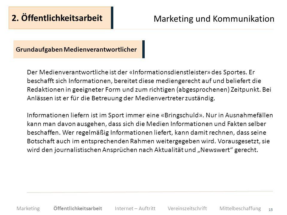 Marketing und Kommunikation 15 Der Medienverantwortliche ist der «Informationsdienstleister» des Sportes. Er beschafft sich Informationen, bereitet di