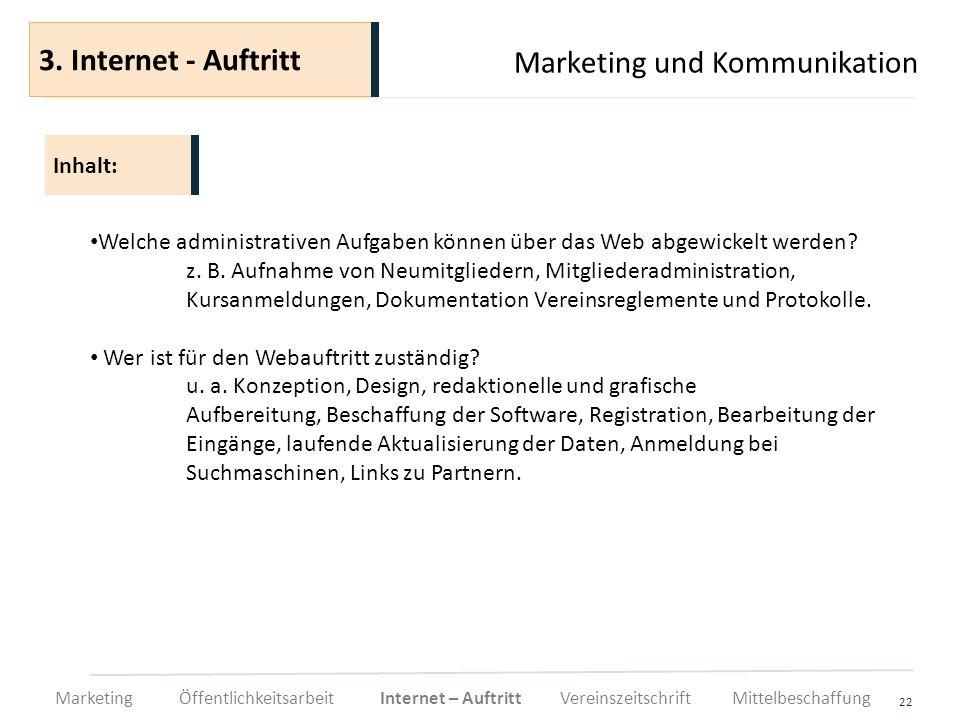 Marketing und Kommunikation 22 Welche administrativen Aufgaben können über das Web abgewickelt werden? z. B. Aufnahme von Neumitgliedern, Mitgliederad