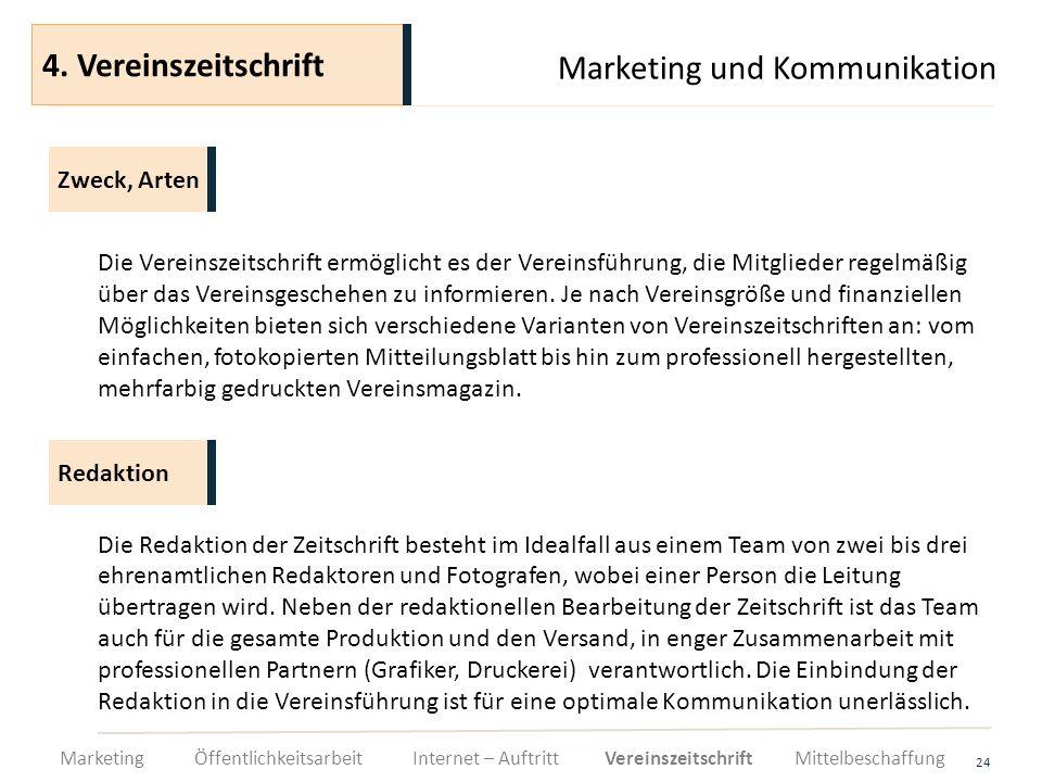 Marketing und Kommunikation 24 Die Vereinszeitschrift ermöglicht es der Vereinsführung, die Mitglieder regelmäßig über das Vereinsgeschehen zu informi