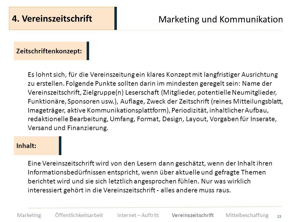 Marketing und Kommunikation 25 Es lohnt sich, für die Vereinszeitung ein klares Konzept mit langfristiger Ausrichtung zu erstellen. Folgende Punkte so